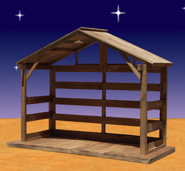 Wood nativity stable outdoor 70 high for Building a barn to live in