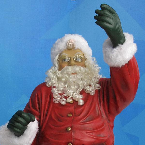 120in Wide Giant Santa Sleigh Two Reindeer Set: Life Size Santa, Sleigh & 4 Reindeer 16 Ft W