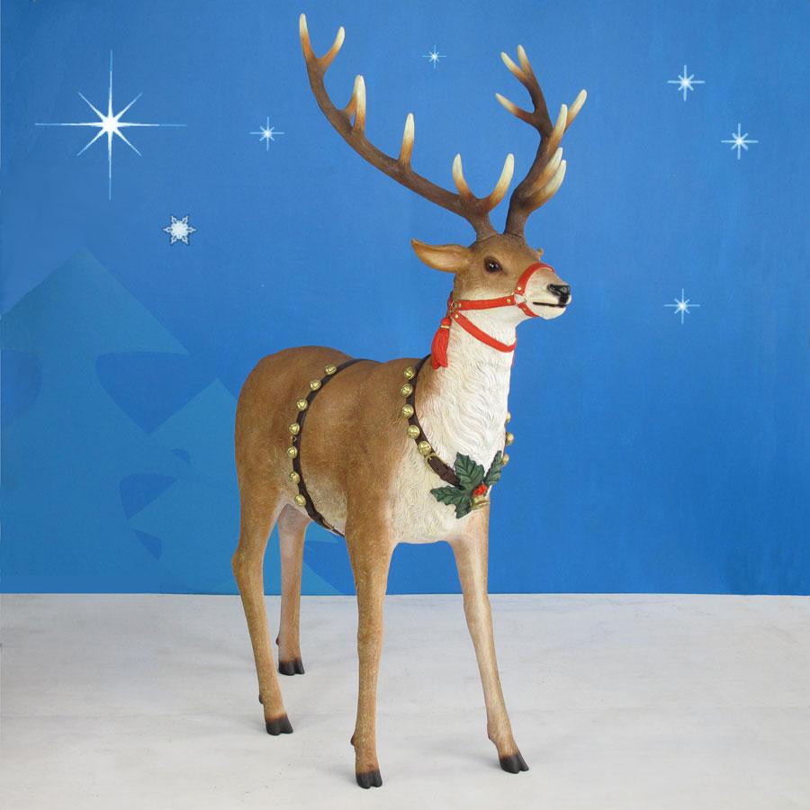 66.5in. High Outdoor Sleigh Reindeer Pair - Set of Two