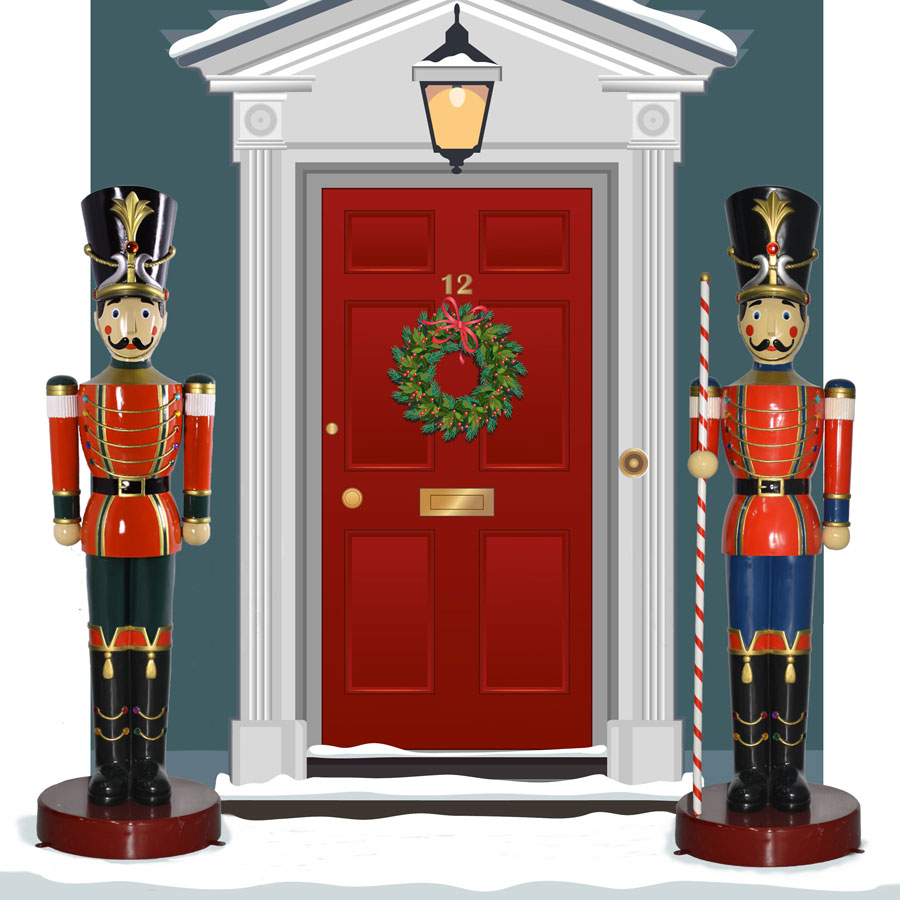 6.5-ft. Toy Soldier Statue & Soldier With Striped Baton