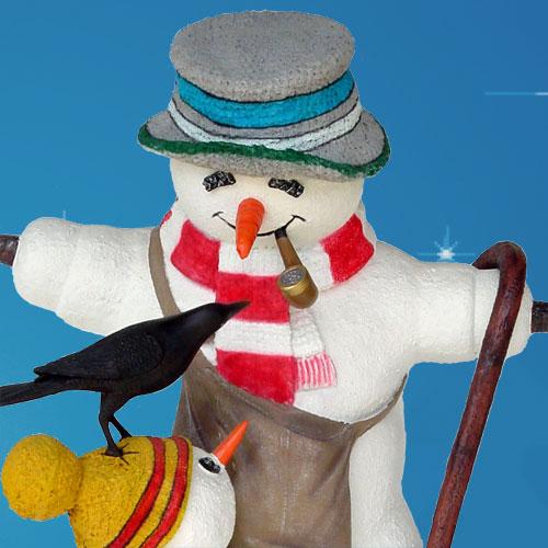 Yab Designs Outdoor Snowman With Snow Boy 5