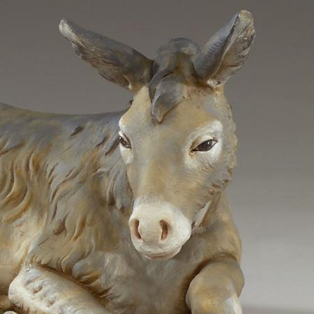 close up of seated Fontanini donkey 27 inch scale