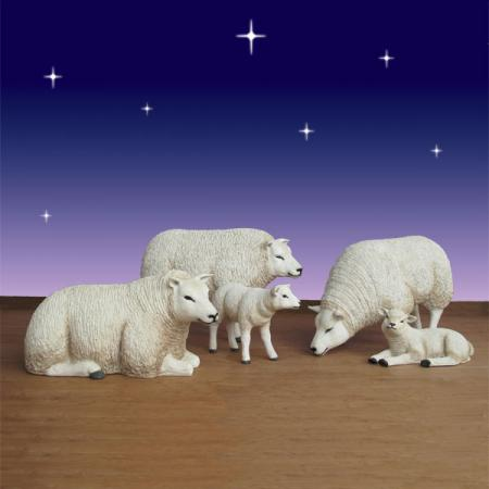 Life Size Sheep & Lamb Set 5 piece