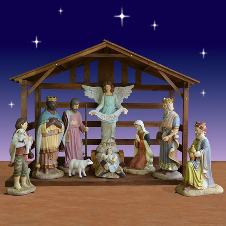 40 inch 9 piece Christmas nativity scene