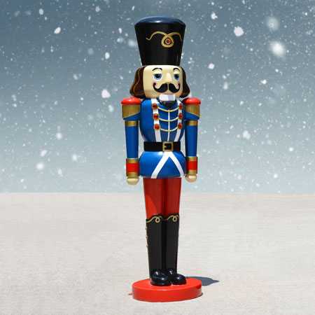 life size nutcracker soldier blue jacket 6 ft h