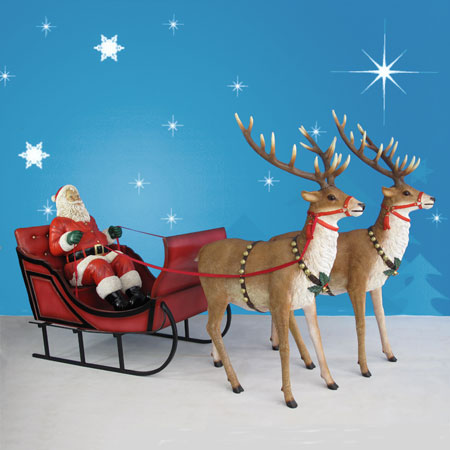120in Wide Giant Santa Sleigh Amp Two Reindeer Set