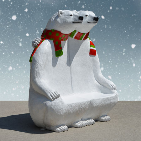 Family Polar Bear Bench