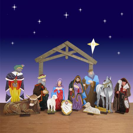 "Life Size Wood Nativity Set - 12 Pc  94""H"