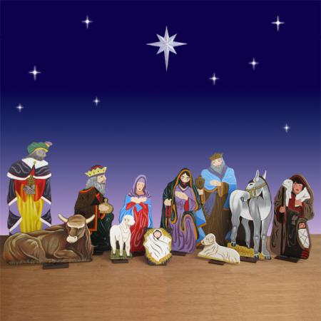 Life Size 2D Nativity Set