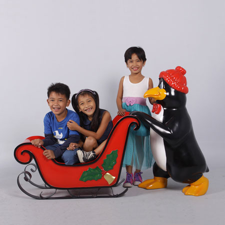 Penguin Santa and Sleigh