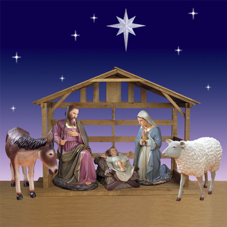 Holy Family, Donkey, Sheep, Stable