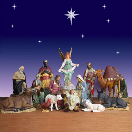 "Life Size Nativity Scene - 15 Piece Outdoor -  54"" scale"