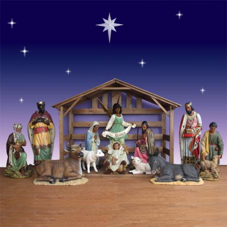 Life Size African American Nativity Set with Stable - 12 Pc  Outdoor