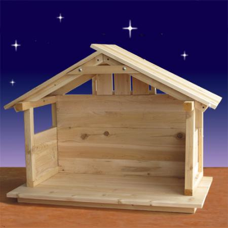 "Wood Nativity Stable - Outdoor - 30"" High"