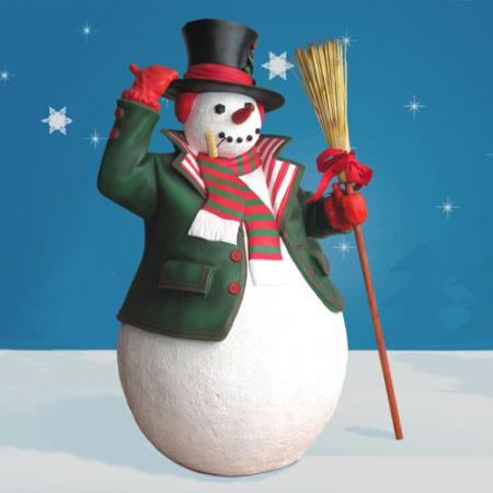Fiberglass Snowman with Broom 6'