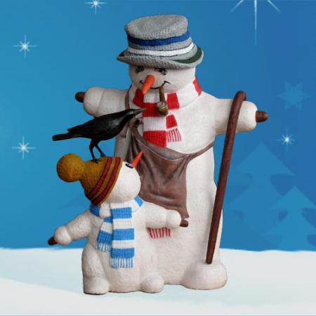 Snowman with Snow boy