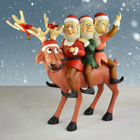 Life Size Reindeer with Elves