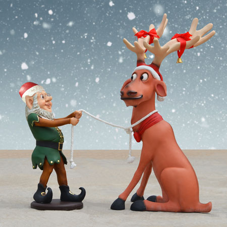 Life Size Reindeer with Elf