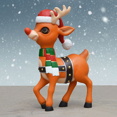 Reindeer with Santa Hat and Scarf