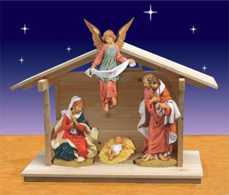 Fontanini Holy Family and Angel in Stable 27 inch scale
