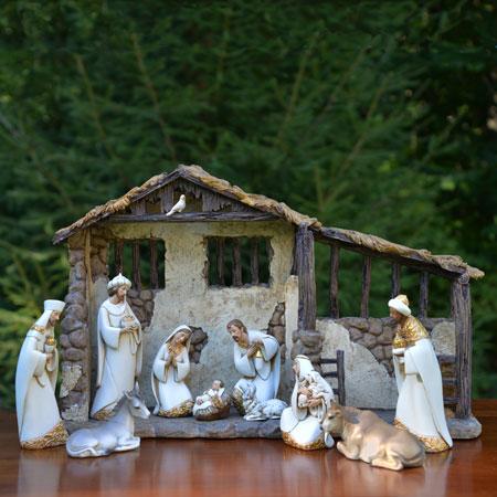 Outdoor nativity stable in lights http www christmasnightinc com