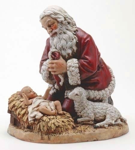 "13"" Kneeling Santa w/Lamb by Josephs Studio"