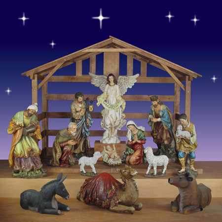 "Christmas Nativity from Joseph's Studio 40"" scale  13 Pc.  with Stable"