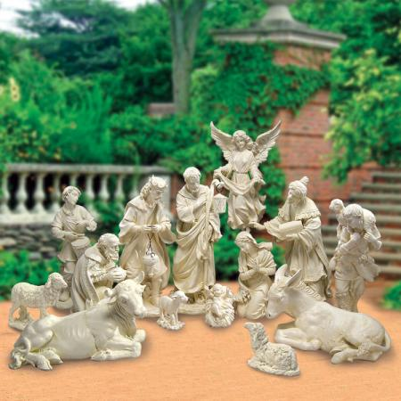 outdoor view of garden nativity set