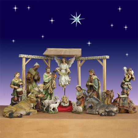 "Artisan Nativity  27.5"" 15 Piece with Triptych Stable"
