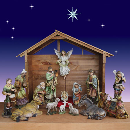 "Wood Nativity Stable - Outdoor - 55"" High"