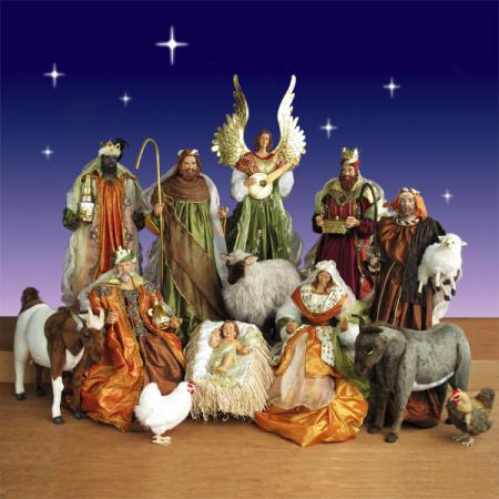 Life Size Nativity Set in resin and fabric - 5 ft. scale 14 piece
