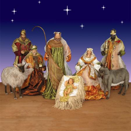 Life Size Nativity Set in resin and fabric - 5 ft. scale 8 piece