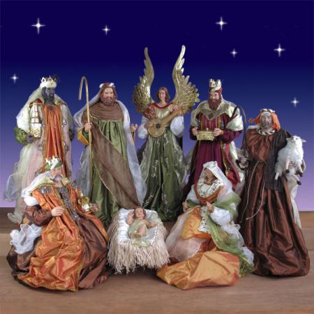 Life Size Nativity Set in resin and fabric - 5 ft. scale 9 piece