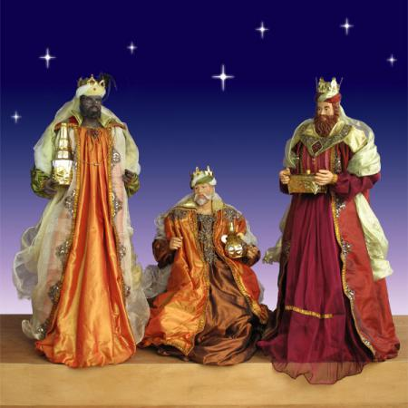 Life Size Three Kings in resin and fabric - 5 ft. scale