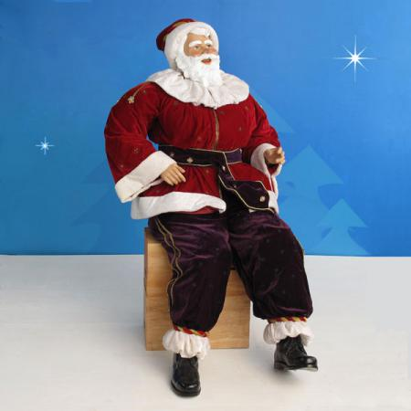 Life Size Sitting Santa in resin and fabric - 5 ft. scale