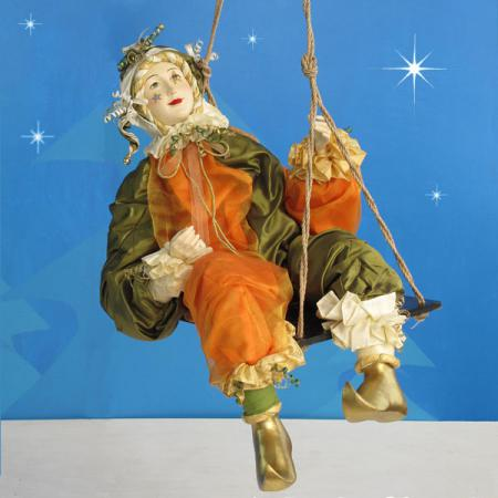 Jester on Swing in resin and fabric - 4 ft. scale