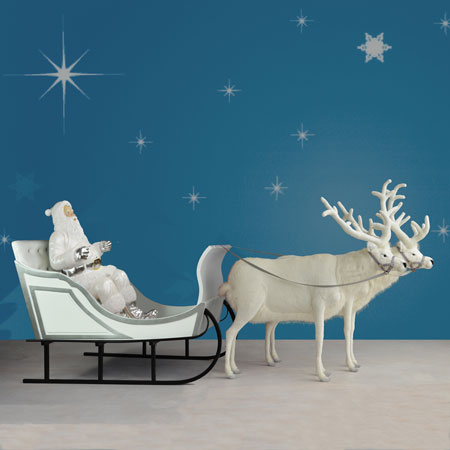 Santa in White Sleigh with Reindeer