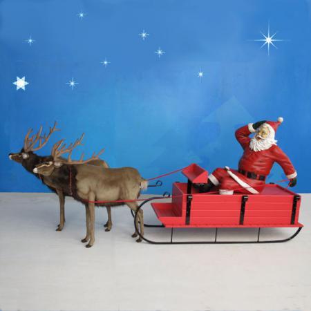 Life size santa sleigh amp 4 reindeer 16 ft w