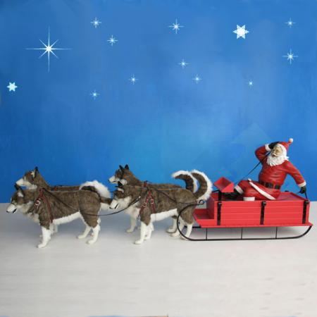 Santa on Dog Sled 8 ft W