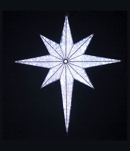 Lighted View of White Bethlehem Star