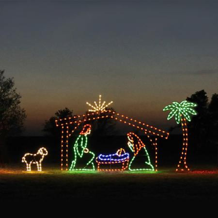 Holiday Nativity LED Light Display - 6 Piece