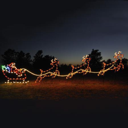 santa sleigh reindeer light display santa sleigh yard sculpture. Black Bedroom Furniture Sets. Home Design Ideas