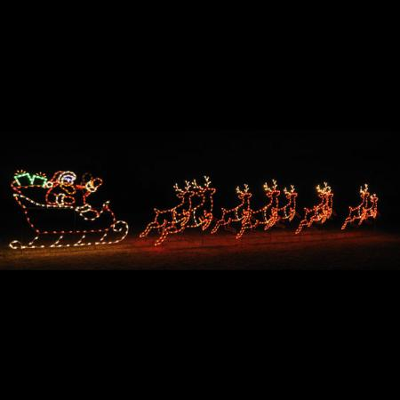 Animated C7 LED Light Display - 42 ft W Santa  Sleigh and 9 Reindeer Set