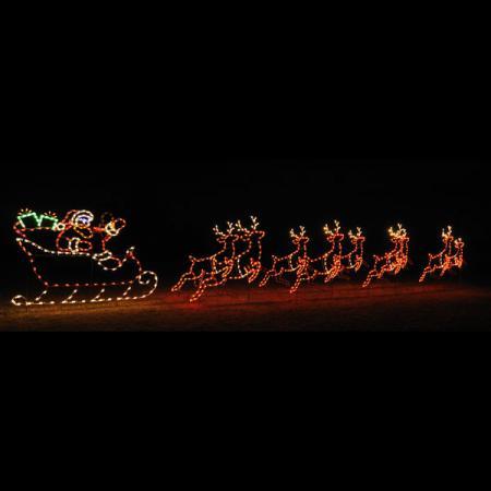 Http Www Christmasnightinc Com Animated C7 Led Light Display 42 Ft W Santa Sleigh And 9 Reindeer Set P808 Html