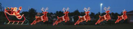 Giant Santa  Sleigh and Reindeer Animated LED Light Display 87 ft W