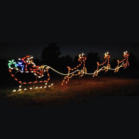 santa sleigh reindeer c7 led light display 16 8 ft w. Black Bedroom Furniture Sets. Home Design Ideas