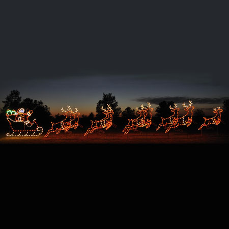 Holiday Lights Santa Sleigh Reindeer