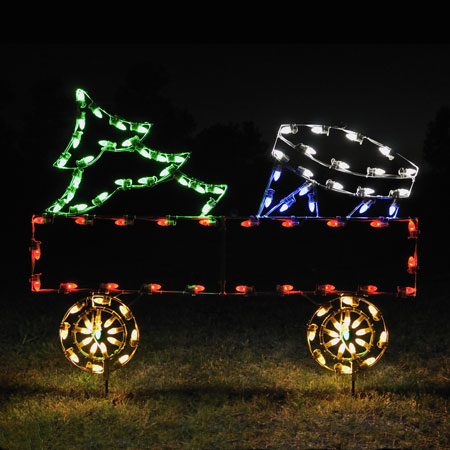 Holiday Lights Flat Car with Christmas Tree