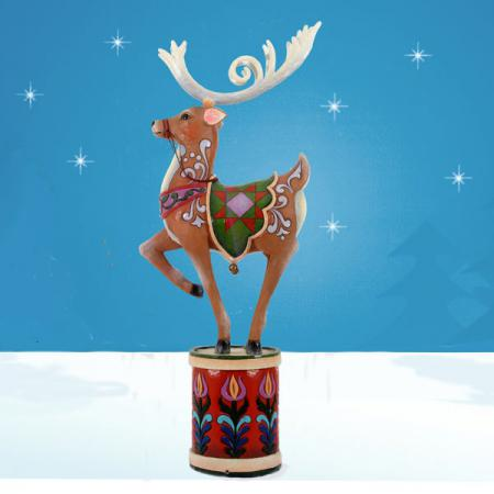 Reindeer on Drum 6 ft Tall - Jim Shore Collection