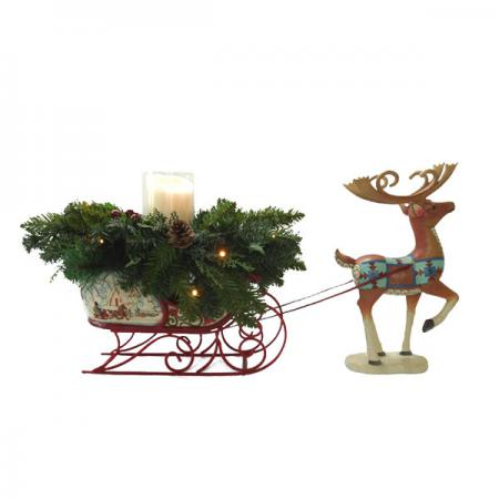 Reindeer Sleigh with Luminara Candle - Jim Shore Collection